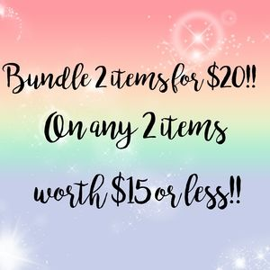 SALE 2 FOR $20, ON ITEMS WORTH $15 OR LESS